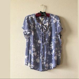 Liz Claiborne blue floral peasant smock Top L